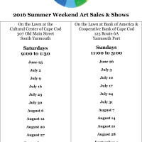 Yarmouth Art Guild's 2016 Summer Weekend Outdoor Art Sales & Shows - South Yarmouth