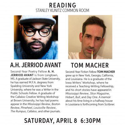 Fellowship Reading: A.H. Jerriod Avant and Tom Macher