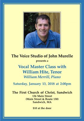 Vocal Master Class with William Hite, Tenor