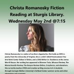 Christa Romanosky Fiction Reading at Sturgis Library.