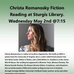Christa Romanosky Fiction Reading at Sturgis Library.