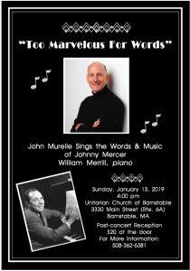 """""""Too Marvelous For Words"""" John Murelle sings the words & music of Johnny Mercer"""