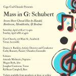 Cape Cod Chorale Presents Mass in G: Franz Schubert