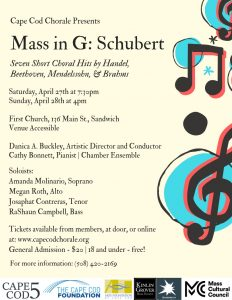 Cape Cod Chorale Presents Mass in G: Franz Schubert