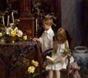 Daniel Keys, Portraits with Flowers in Oil: Septem...