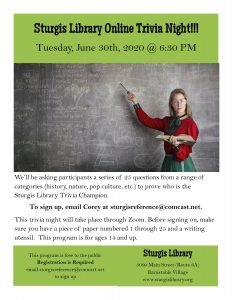 Sturgis Library Trivia Night (Online)