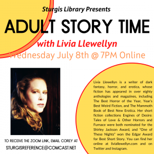 Adult Story Time with Livia Llewellyn (ONLINE)