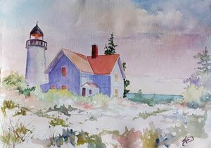 Zoom Watercolor Class - Light Keeper with Sue Dion