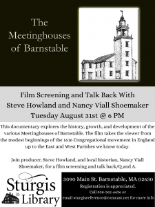 The Meetinghouses of Barnstable: Movie Screening and Director Talk Back