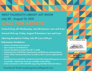 Call for Artists for West Falmouth Library Art Show and Sale